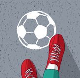Jonge het voetbalvoeten bal mensen van de hoogste die mening op asfalt wordt geschilderd Vector Illustratie