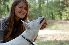 Jonge hondspelen op aard royalty-vrije stock afbeeldingen