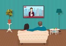 Jonge huiselijke man en vrouwen die op dagelijks het nieuwsprogramma van TV samen in de woonkamer letten Vector illustratie stock illustratie