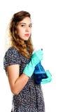 Jonge huisvrouwenreinigingsmachine Stock Fotografie