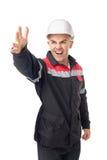 Jonge ingenieursschreeuwen die een hand hebben opgeheven Stock Afbeeldingen