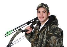 Jonge jager met boog Stock Foto's