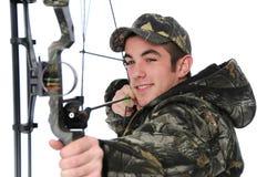 Jonge jager met boog het streven Royalty-vrije Stock Afbeelding