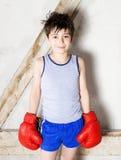 Jonge jongen als bokser royalty-vrije stock fotografie