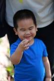 Jonge jongen die een aardbei plukken Royalty-vrije Stock Afbeelding