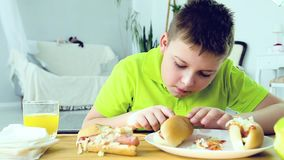 Jonge jongen die een hotdog eten stock video