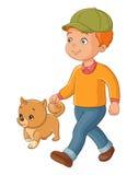 Jonge jongen die met de hond lopen Vector illustratie die op witte achtergrond wordt geïsoleerdd Stock Fotografie