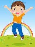 Jonge jongen die voor vreugde springt Royalty-vrije Stock Foto