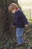 Jonge jongen die zich door boom bevindt Royalty-vrije Stock Afbeelding