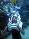 Jonge Jongen - Helm Dive Awe royalty-vrije stock afbeelding