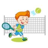 Jonge jongen Het speeltennis van de jongen Jonge geitjestennis Vector illustratie op witte achtergrond Stock Foto