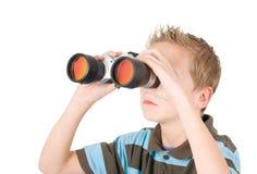 Jonge jongen met binoculair Royalty-vrije Stock Foto's