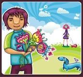 Jonge jongen met bloemen Stock Foto