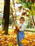 Jonge jongen met de herfstbladeren Stock Fotografie