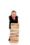 Jonge jongen met encyclopedie Stock Foto