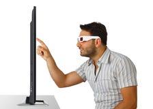 Jongen met 3D glazen Stock Foto's