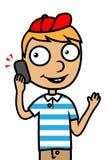 Jonge jongen met mobiele telefoon Royalty-vrije Stock Foto's