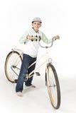 Jonge jongen op een retro fiets Royalty-vrije Stock Afbeeldingen