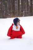 Jonge Jongen in Sneeuw Royalty-vrije Stock Fotografie