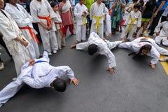 Jonge jongens die Karate uitoefenen royalty-vrije stock afbeeldingen
