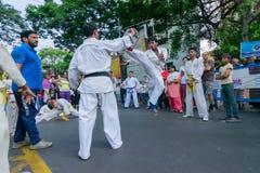 Jonge jongens die Karate uitoefenen stock afbeeldingen