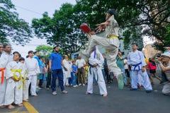 Jonge jongens die Karate uitoefenen royalty-vrije stock foto's