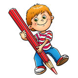 Jonge jongenstekening met rood die potlood op wit wordt geïsoleerd royalty-vrije illustratie