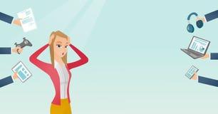 Jonge Kaukasische die vrouw door haar gadgets wordt omringd royalty-vrije illustratie