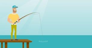 Jonge Kaukasische mens die op pier vissen stock illustratie