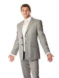 Jonge Kaukasische mens in een kostuum dat verbaasd kijkt Royalty-vrije Stock Foto