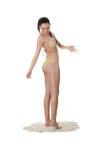 Jonge Kaukasische vrouw in bikini Stock Foto