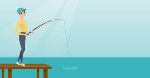 Jonge Kaukasische vrouw die op pier vissen royalty-vrije illustratie