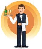 Jonge kelners dienende dranken Royalty-vrije Stock Afbeeldingen