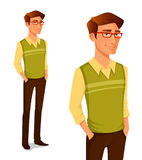 Jonge kerel op hipstermanier royalty-vrije illustratie