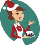 Jonge Kerstmispudding van de vrouwenholding Royalty-vrije Stock Fotografie