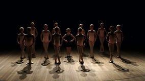 Jonge kinderen belast met ballet op balletschool stock video