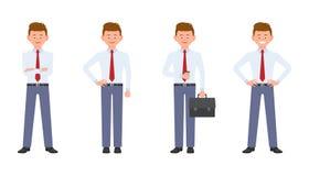 Jonge, knappe, gelukkige bureaumanager in formele slijtage die zich met koffie, aktentas, gekruiste handen, het glimlachen bevind vector illustratie