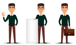 Jonge knappe glimlachende zakenman in slimme vrijetijdskleding Reeks van drie illustraties royalty-vrije illustratie
