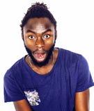 Jonge knappe hipster van de afro Amerikaanse jongen modieuze het gesturing emoti Royalty-vrije Stock Afbeelding