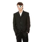 Jonge knappe mens in 3d glazen Royalty-vrije Stock Afbeelding