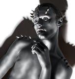 Jonge Knappe Mens. Fantasie. Art. Zwart & Wit Portret Royalty-vrije Stock Afbeelding