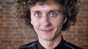 Jonge knappe mens met krullend haar die zijn wenkbrauwen opheffen en bij camera glimlachen, bakstenen muurachtergrond stock videobeelden