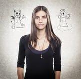 Jonge knappe vrouw met engel en duivel royalty-vrije illustratie