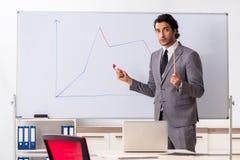Jonge knappe zakenman voor whiteboard royalty-vrije stock fotografie