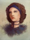 Jonge krulvrouw in kraagportret stock illustratie