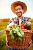 Jonge landbouwer met mandhoogtepunt van groenten stock fotografie
