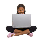 Jonge laptop van het Meisje n Stock Fotografie