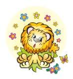 Jonge leeuw, leeuw en vlinder Royalty-vrije Stock Foto