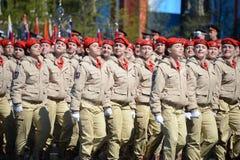 Jonge legermensen van de alle-Russische militair-patriottische beweging ` Yunarmiya ` op Rood Vierkant tijdens de generale repeti Royalty-vrije Stock Afbeelding