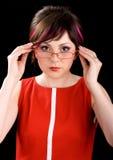 Jonge leraar in een rode kleding Royalty-vrije Stock Afbeeldingen